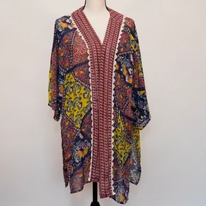 Umgee Red and Yellow Floral Kimono Size M/L